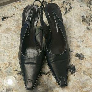 Black sling back sandals